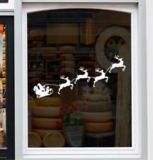SLEIGH REINDEERS CHRISTMAS Shop Window Sticker Xmas Retail Decoration Decal
