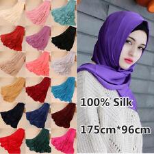 100% Silk Womens Winter Scarves Muslim Head Wrap Hijab Shawl Turkish Arab Scarf
