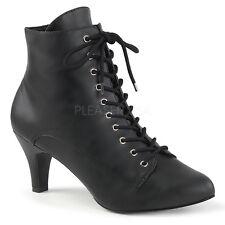 "Divine 1020 3"" Heel Plus Size Wide Width Ankle Boots Black Leatherette 9-16"