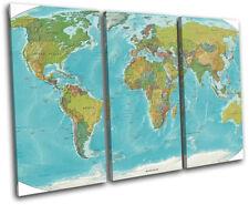 World Atlas Maps Flags TREBLE CANVAS WALL ART Picture Print