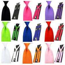 Men Solid Color Satin 8cm Wide Tie Necktie Y-shape Elastic Suspender Braces Set