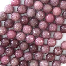 "Faceted Purple Lepidolite Round Beads Gemstone 15.5"" 4mm 6mm 8mm 10mm 12mm"