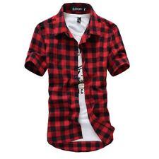 Men Shirts Short Sleeve Chemise Homme Mens Checkered