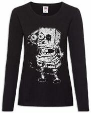 Sponge Rob Women Long Sleeve T-Shirt Fun Halloween The Zombie Bob Walking Dead