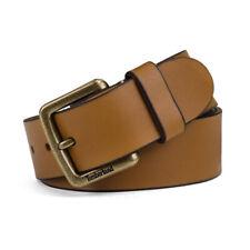 Timberland Men's Genuine Leather Belt 38MM Metal Tree Patch Logo (Caramel) Brown