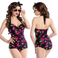Vintage Badeanzug Retro Kirschen Muster Kirschmuster Bademode Swimsuit S-3XL