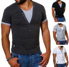 Carisma 2in1 double T-Shirt Kontrast Knöpfe tiefer V-Ausschnitt slimfit Herren