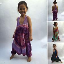 Tie dye children's girls harem jumpsuit dungarees hippy hippie boho 2-9 yrs