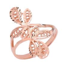 Pure 10k Rose Gold Diamond Cut Filigree Wrap Interlocking Leaves Ring