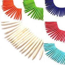 20pcs Natural Howlite Spike Beads Loose Gemstones Tusk Pendants Bullet 20~50mm