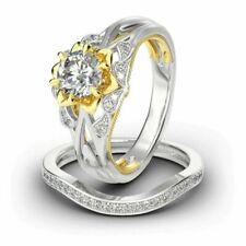 Flower Round 2.00 ct VVS1/D Diamond Silver Ring Set !