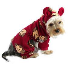 Klippo Dog Clothes Silly Monkey Fleece Dog Pajamas Hooded Burgundy XS-XL Puppy