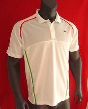 Lacoste SPORT White w/Racing Stripes Men's Ultra Dry Upper Mesh Polo Shirt - NEW