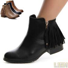 Damen Stiefeletten Booties Chelsea Boots Stiefel Halbschuhe Fransen 1037