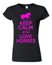 Junior Keep Calm and Love Horses Novelty Horse Lover Shirt T-Shirt Tee Shirt