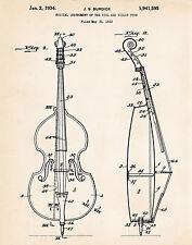 1934 Cello Art Gifts For Cello Players Patent Poster Print Artwork Burdick