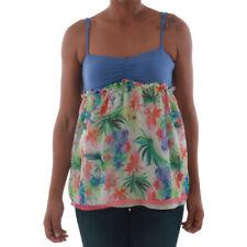 Fornarina Donna Maglietta T-shirt floreale Blu senza maniche 10188