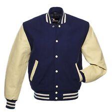 NavyBlue Wool Real Leather Sleeves Cream Letterman Varsity Bomber College Jacket