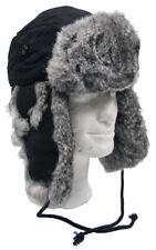 Fellmütze mit grauem Kaninchen Fell Pelzmütze Pilotenmütze Mütze Tschapka Winter