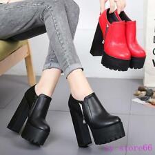 Women's Leather Chunky High Heel Casual Shoes Platform Round Toe Nightclub Pumps