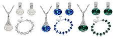 Crystal Green Dark Blue or White Bridal Jewellery Set Earrings Necklace Bracelet