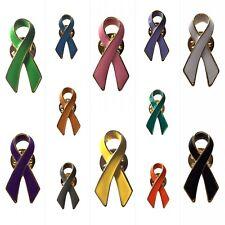 NEW Awareness Ribbon Lapel Pin 16 Colours To Choose Badge Brooch Charity