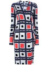 NEW Authentic DVF Diane von Furstenberg ZALDA BIS Retro Squares Wrap Dress S