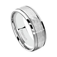 8mm Titanium Band Hammered Grooved Shiny Edge Men's Wedding Band SZ 9-14