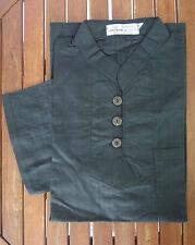 Chemise H noir m.courtes en coton tissé col mao 3 boutons - Angkor