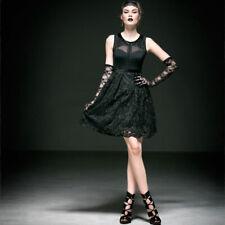 NEW Punk Rave Gothic Lace Sleeveless Black Dress Q-227 ALL STOCK IN AUSTRALIA!
