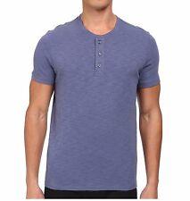 Vince Brand Men Blue Short Sleeve Slub Henley T-Shirt Plain Tee Top M22528871