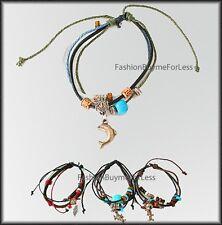 Catalog Women Dangle Tribal Wrap Cuff Leather Tibetan Turquoise Stones Bracelet