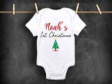 Chaleco de Body Bebé Personalizado de primera Navidad 1st Regalo Ropa Nombre Niño Niña
