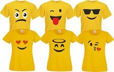 Für Emoji Fans T-Shirt  Herren Damen Kinder Guppenkostüm Paarkostüm  Karneval
