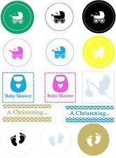 Baby Shower Christening envelope seals invitation stickers labels Designer x 100