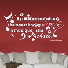 """Sticker Mural Texte """"...la Musique et les Chats"""" XXL 40x58 cm à 60x88 cm(TEX031)"""