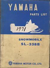 1971 VINTAGE YAMAHA SNOWMOBILE SL-338B PARTS MANUAL USED