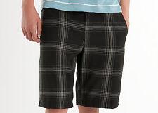 New Mens Black White Quiksilver Cotton Check Turn Plaid Long Shorts