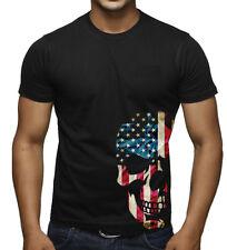Men's American Skull Bottom Black T Shirt US Flag Biker Motorcycle Graphic Tee