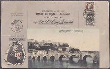 Belgium Sc 82 on Stamp Facsimile PPC, View of Pont de Jambes & Citadelle