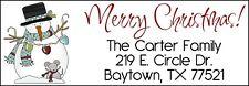 ~MERRY CHRISTMAS Snowman w/Mouse~ Lazer Address Labels
