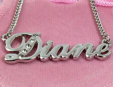 Collar de nombre Diane Chapado en Oro 18 ct Cristal De Alta Calidad Regalos Personalizados