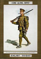 W86 Vintage WWI British Come Along Boys Enlist Army War Poster WW1 A1 A2 A3
