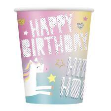 Licorne arc-en-ciel Violet papier 270ml fête BOISSON tasses anniversaire Taille