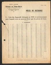 PARIS (VIII°) USINE DU PIED-SELLE (08) TOLERIE / APPAREILS de CHAUFFAGE en 1947