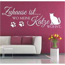 Wandtattoo Spruch Zuhause ist wo meine Katze wohnt Wandsticker Aufkleber Bild 1