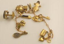 Vintage Brass Moveable Carousel Skate Teapot Scissors Heart Purse Charm Bracelet