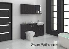HACIENDA BLACK BATHROOM FITTED FURNITURE 1500MM WITH WALL UNITS
