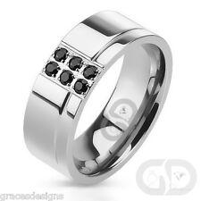 Black Diamond .24 Carat Men's Stainless Steel Wedding Engagement Band Ring 9 -13