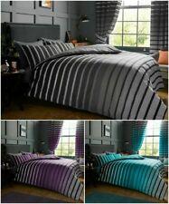 Oscar Stripe Duvet Quilt Cover & Pillow Case Bedding Set Grey Purple Teal